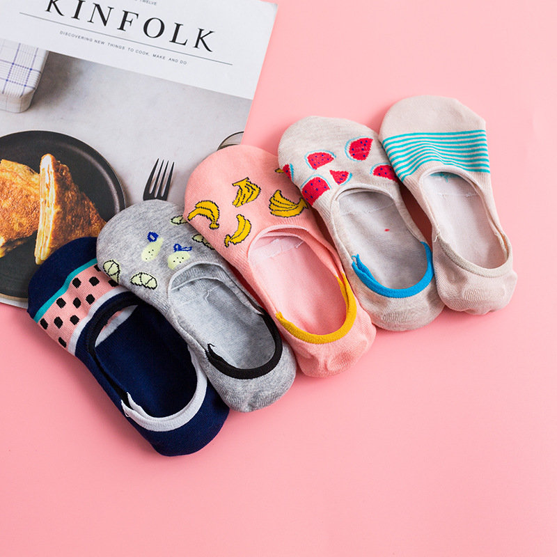 Colorful fruit Invisible Short Woman Sweat summer comfortable cotton girl women's boat   socks   ankle low female 1pair warm   socks