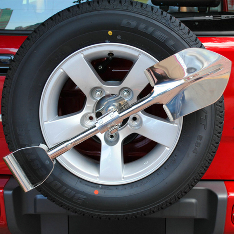 Universal Stainless Steel Spare Tyre Shovel With Lockable Holder for Jeep Wrangler Compass Renegade Offroad SUV 4WD stainless steel cuticle removal shovel tool silver