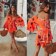 2019 Women Flower Boho floral Maxi V Neck sexy summer fashion loose Dress Evening Party Club Wear Beach Dress Sundress befree брюки befree befree mp002xw1544x