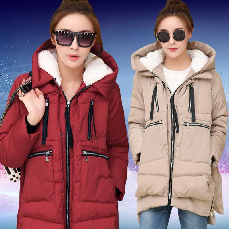 ФОТО Winter Women Wadded Jacket Red Female Medium-Long Plus Size Lady Thickening Tooling Casual Down Wadded Coat Black Parkas H4494