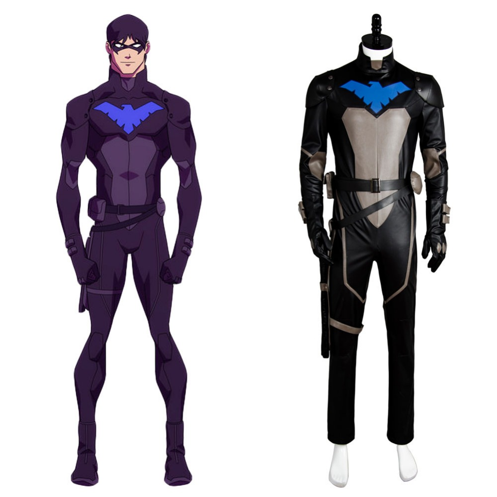 Young Justice S2 Nightwing Cosplay Costume Jumpsuit Suit Uniform Outfit Mask Set