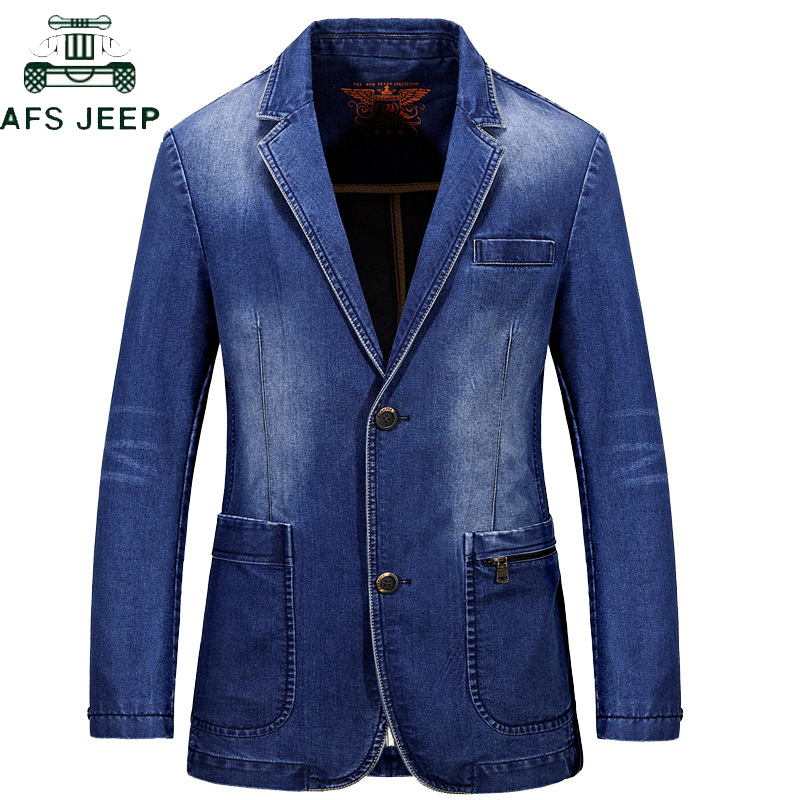 AFS JEEP Men's Denim Casual Blazer Men Cotton Vintage Suit Jacket Male blazer masculino Plus Size 3XL Denim blazer Jacket Coat
