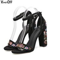 New Sandals Shoes 2017 Retro Embroidered High Heels Sexy Women Sandals Shoes SIZE35 40