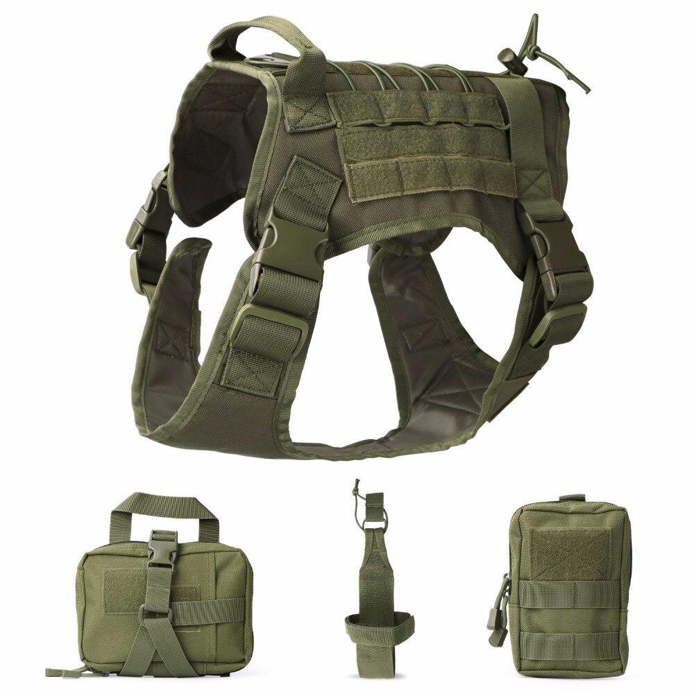 Arnés Modular de perro de servicio táctico K9 Chaleco de trabajo para caza con bolsa y bolsa de transporte de botellas de agua Chaleco táctico de gran raza para perros, equipo táctico para fanáticos del ejército, ropa para perros, correas de pecho K9