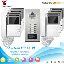 YobangSecurity 4.3 Inch Monitor Video Door Phone Doorbell Camera Video Intercom System RFID Access Control For 10 Unit Apartment