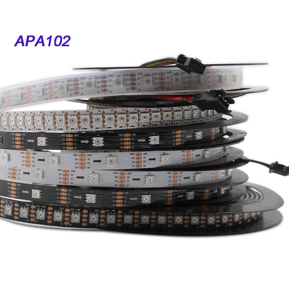 1 m/3 m/5 m APA102 pixel tira conduzida Inteligente; 30/60/144 leds/pixels/m; DADOS e RELÓGIO separadamente; DC5V; IP30/IP65/IP67 Sk9822