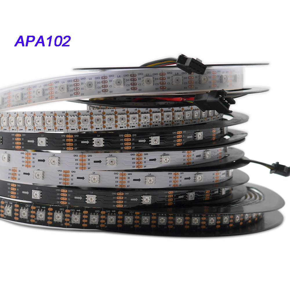 1m/3m/5m APA102 Pixel Smart Led Strip;30/60/144 Leds/pixels/m;DATA And CLOCK Seperately;DC5V;IP30/IP65/IP67 Sk9822