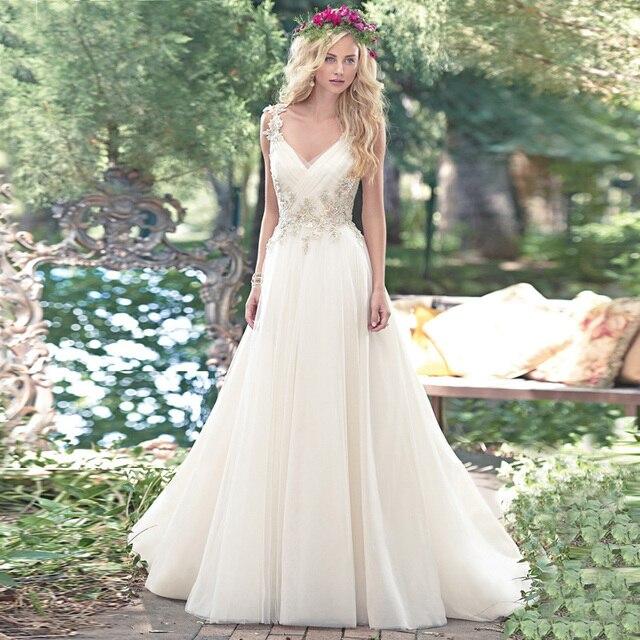 Buy new arrival sexy v neck wedding dress for Lace v neck backless wedding dress