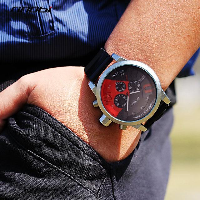 Mens Watches Top Luxury Brand Men Rubber Sports Watches Fast Passion SINOBI Mens Quartz Chronograph Clock  Military Wrist Watch