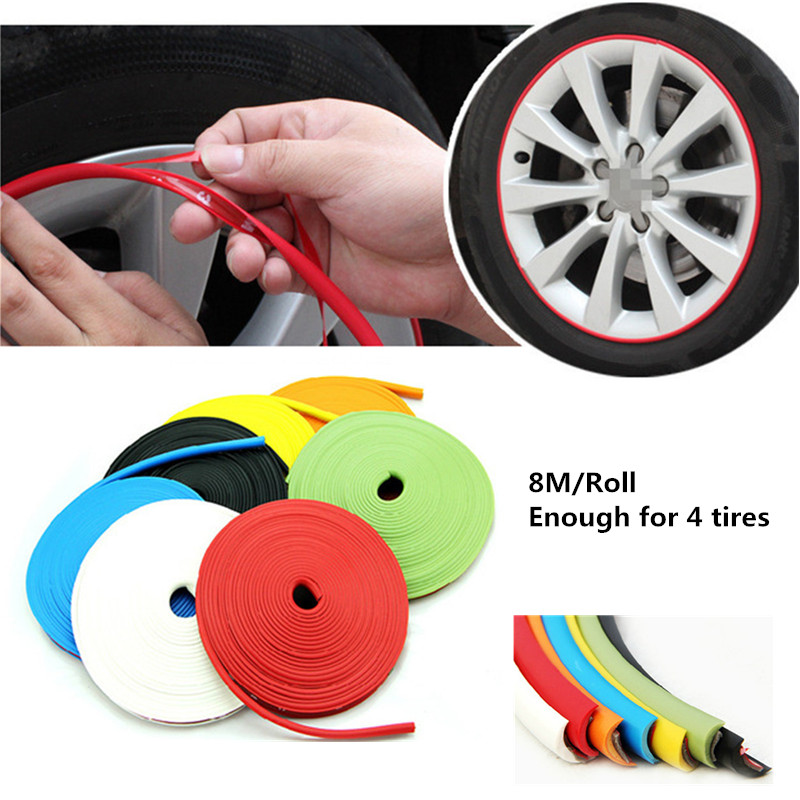 Car Styling 8M/ Roll Car Wheel Trim IPA Wheel Rims Protectors Decor Strip Tire Guard Line Rubber Mouldings Stickers Accessories image