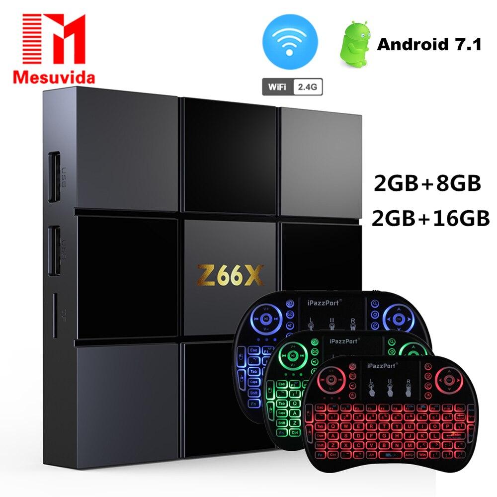 Z66X Z2 Smart TV Box Android 7.1 ZX296716 Quad-core Max 2G RAM 16G ROM Set Top Box 2.4G WiFi 100M RJ45 4K 3D Videos Media Player
