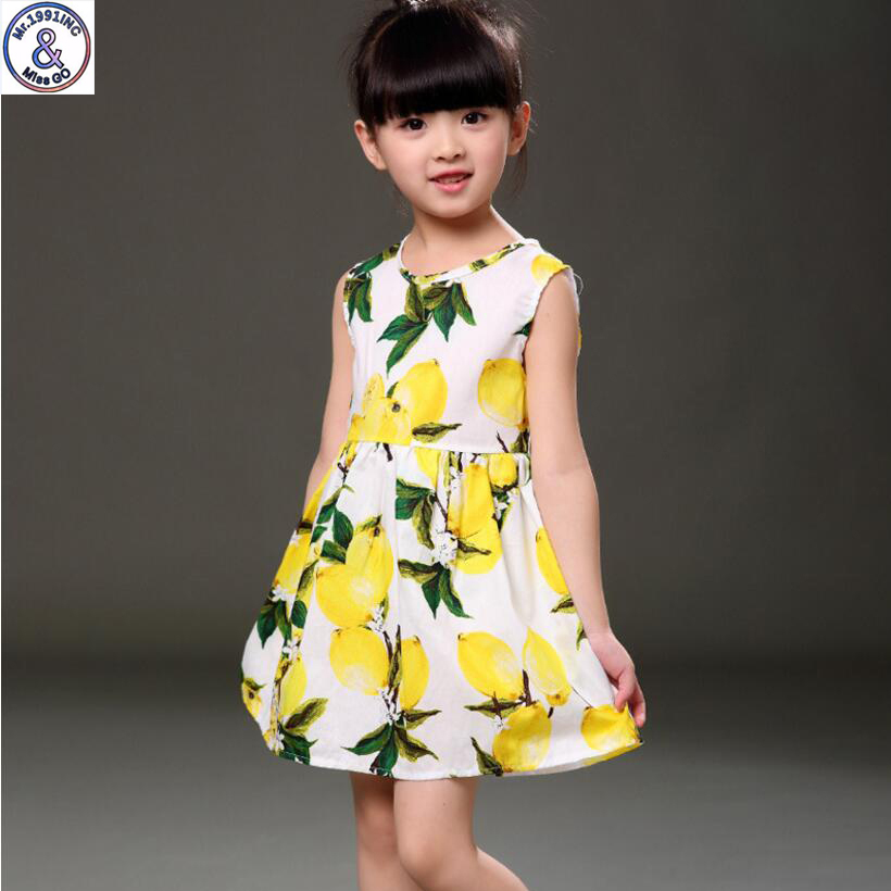 Mr 1991 Summer Girl Dress Sleeveless Floral lemon printed Girl princess dress 3 10Y Casual Vestido