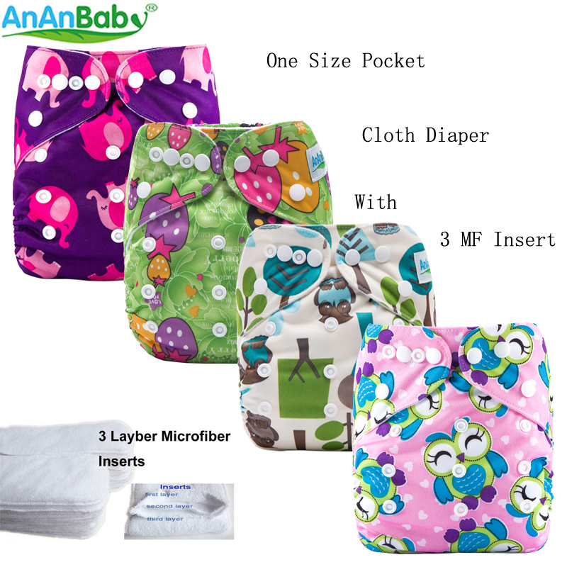 {AnAnBaby} New Prints Baby Nappies Reusable & Washable All In One Size Cloth Diaper Suede Cloth Inner With Hip Snaps W Series