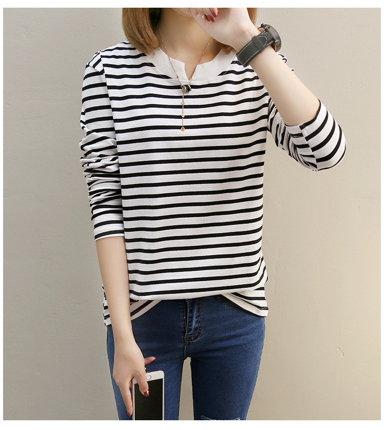 NFIVE Brand 2017 Women's Stripe Loose T-shirts Korean Autumn New Long Sleeved Large Size Shirt Quality Fashion Cotton T-shirt 20