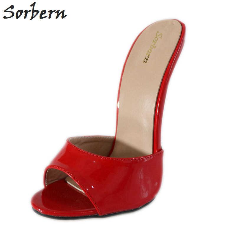 2c801e4aa98 Sorbern Sexy Red 18Cm High Heels Open Toe Custom Colors Ultra Stilettos  Summer Shoes Ladies Sandals
