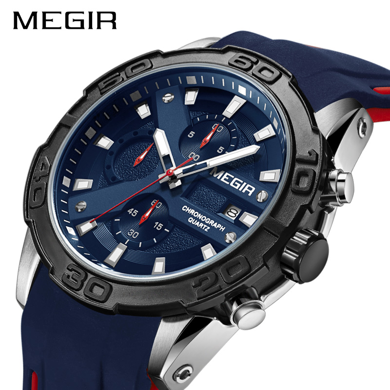 MEGIR Fashion Sport Men Watch Relogio Masculino Brand Silicone Army Military Watches Clock Men Quartz Wrist Watch Hour Time Saat