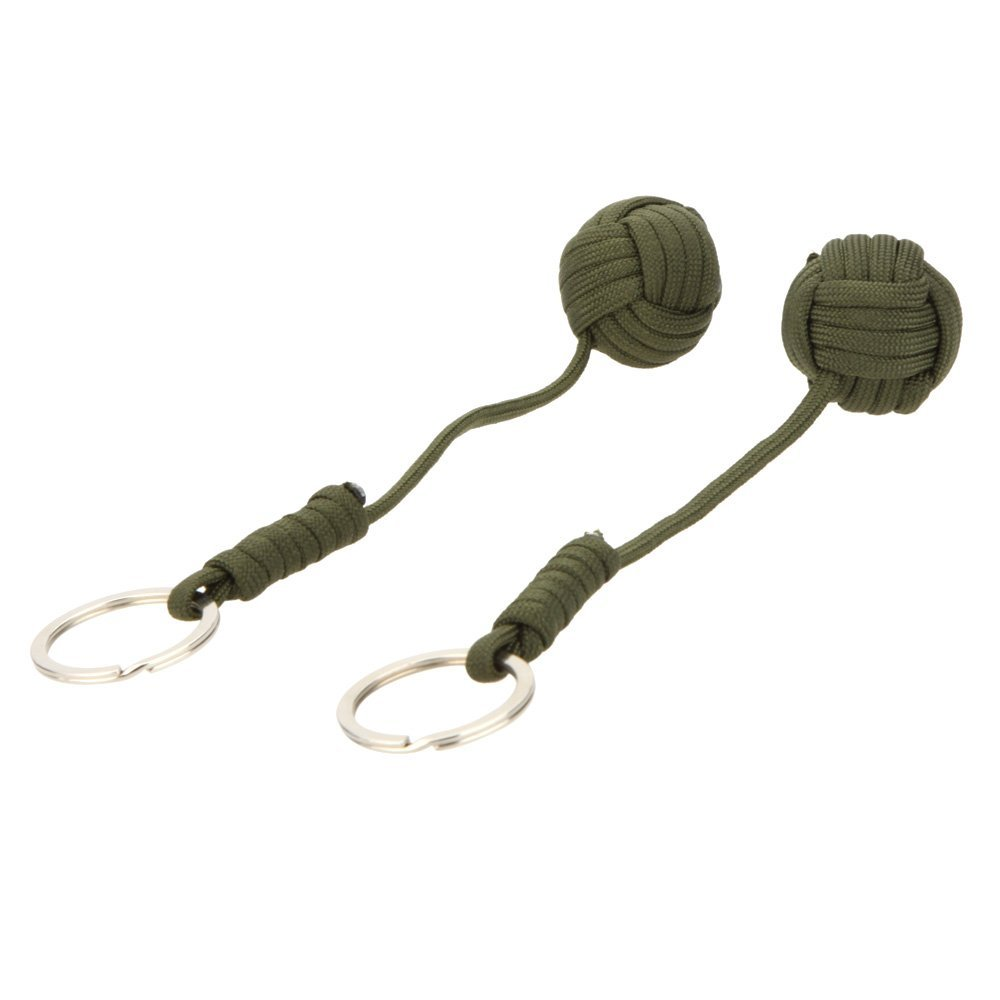 ELOS-2pcs Paracord Parachute Cord Emergency Survival Tool Knot Keychain Key Ring Dark green
