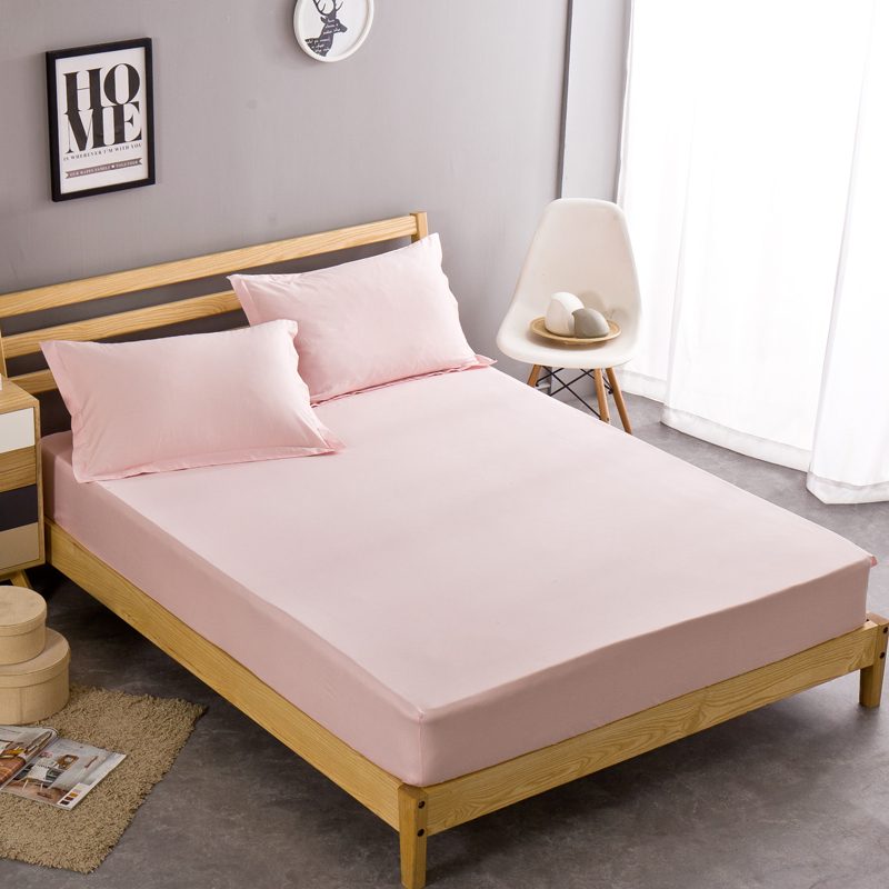 Pink100 Cotton Fitted Sheet Bed Cover Pillowcase Twin Full Queen Size Mattress Covers