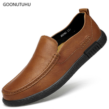Men's casual shoes leather genuine cow slip-on loafers male black brown flat shoes for men big size 37-46 summer breathable shoe цена в Москве и Питере