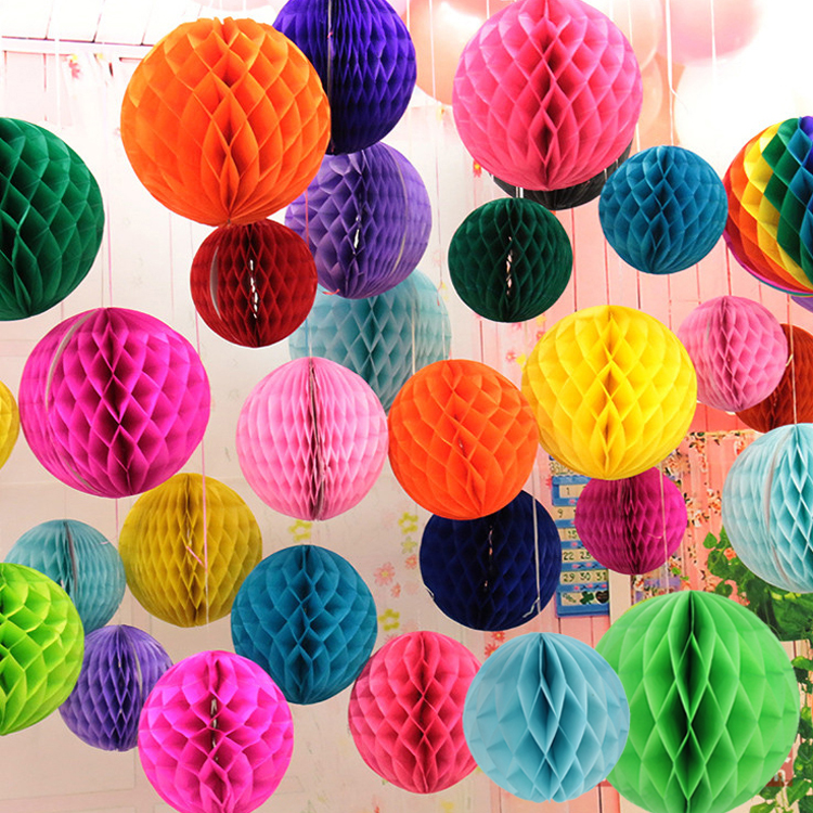 Buy 10pcs 10 inch 25cm tissue paper honeycomb balls hanging pompom party - Hanging paper balls decorations ...