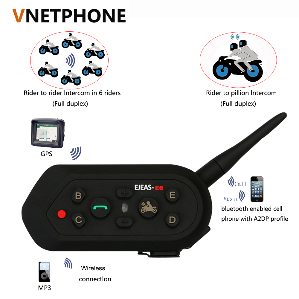 ФОТО 2017 Hot selling E6 Bluetooth 3.0 Motorcycle bluetooth Interphone 6 Riders Full Duplex 1200M Communication Helmet Interphone
