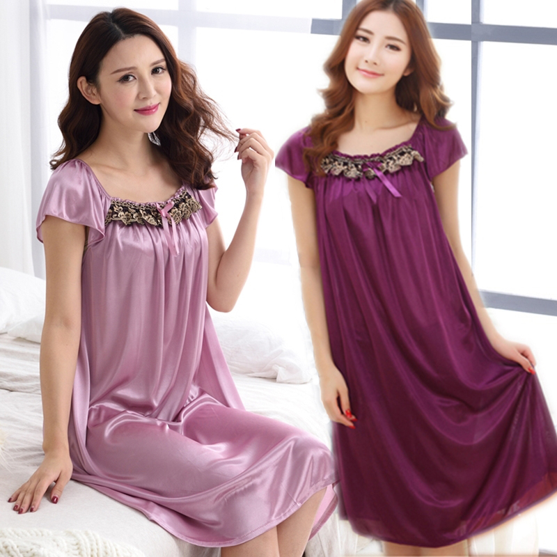 Women sleepwear   nightgowns   Sexy Women's Floral silk   nightgown   Robe   Sleepshirts   plus nightdress women bathrobe night dress