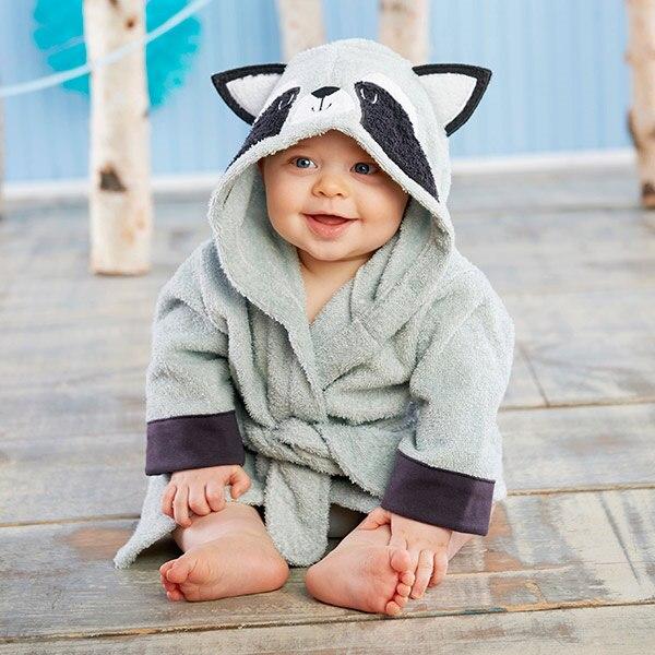 Милый детский банный халат с мышкой пандой, чистый хлопок, купальный Халат с капюшоном, Пляжное банное полотенце, спа-халат с мышкой крысы, пончо для младенцев - Цвет: Racoon