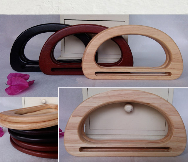 5 pairs=10 pieces,17.3X9.5cm Solid Wood Purse Frame Tree Wood hand ...
