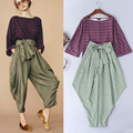 High Quality New Spring And Summer 2016 Fashion Plaid Shirt Big Yards Loose Striped Pants Waist Lace Ladies Suit