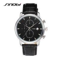 SINOBI Causal Sports Chronograph Mens Golden Wrist Watch Leather Watchband Top Luxury Brand Males Quartz Clock