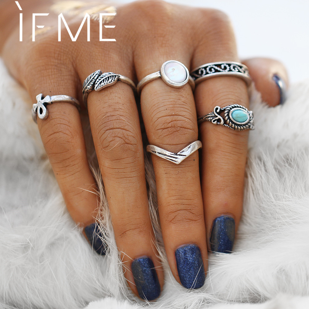 IF ME Fashion Bohemian Ring Set Female Leaf Design Imitation Opal Stone Heart Midi Knuckle Rings Set Antique Silver Color Gift