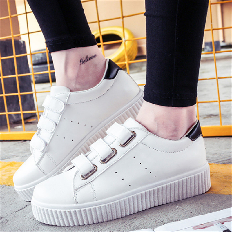 Outdoor Women 2016 Fashion White shoes magic stick Casual Walking shoes platform Apartment Size 35 40zapatos