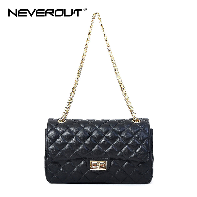 NEVEROUT Sheepskin Diamond Lattice Shoulder Bag Black Real Leather Women Bags Fashion High Quality Messenger Crossbody Handbag все цены