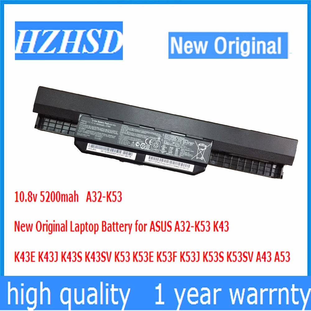 10.8v 5200mah New Original A32-K53 Laptop Battery for ASUS K43 K43E K43J K43S K43SV K53 K53E K53F K53J K53S K53SV A43 A53