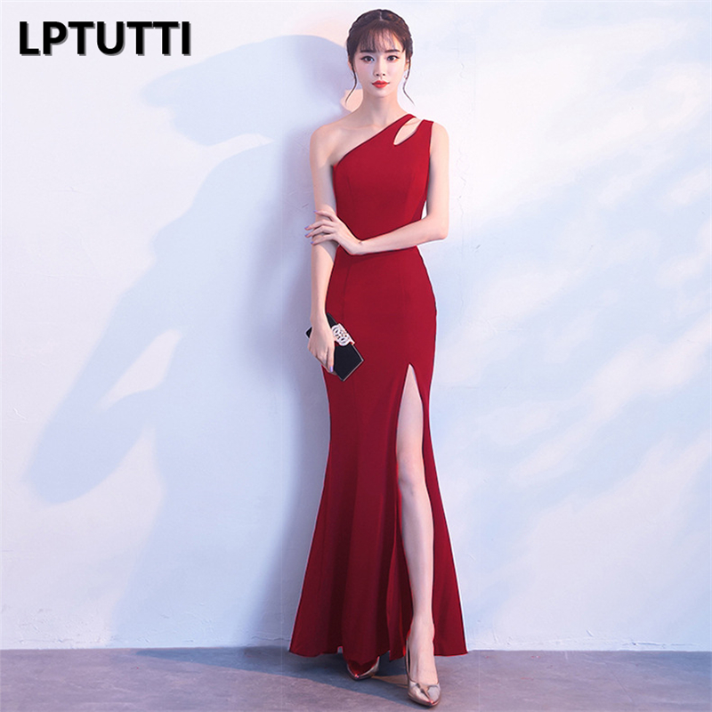 LPTUTTI One shoulder Split Graduating New For Women Elegant Date Ceremony Party Prom Gown Formal Gala Luxury Long Evening Dress-in Prom Dresses from Weddings & Events