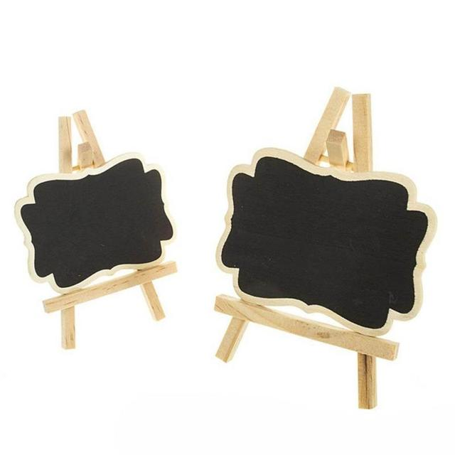 Attractive 2pcs Mini Wooden Message Blackboard Chalkboard with Stand Small  PF92
