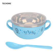 Baby Dishes Set Stainless Steel Double Insulated Rice Bowls PP Spoon Baby Feeding Bowl Portable Girls Boys Children Tableware