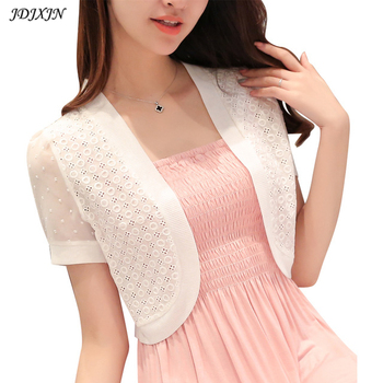 New summer lace shawl knit cardigan jacket wild female short chiffon sleeve short sleeves lace cardigan thin short coat  XY5061