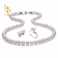 [ZHIXI] Pearl Jewelry Sets,8 9mm,Near Round Natural Freshwater Pearl Sets,925 Sterling Silver,[PJXL7080005]