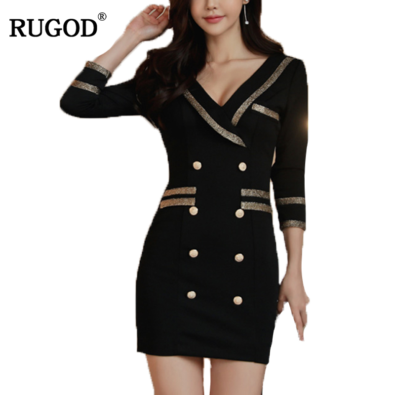 RUGOD 2018 New Arrival Spring Sexy V Neck Women Dress Hight waist Knitted Party Dress for Female Plug Size Bodycon Femme Robe adidas original new arrival official neo women s knitted pants breathable elatstic waist sportswear bs4904