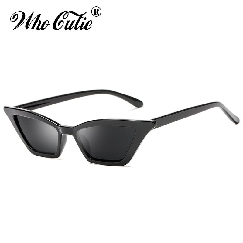 932840df48 Vintage BLACK NARROW SLIM ANGULAR Sunglasses Women 2019 Brand Retro Leopard  Tiny Cateye Frame 90S Sun Glasses Shades Female 576B-in Sunglasses from  Apparel ...