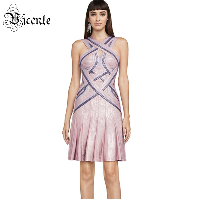 Vicente HOT 2019 New Chic Sexy Backless Elegant Ruffles Color Block Oil Print Wholesale Celebrity Mini