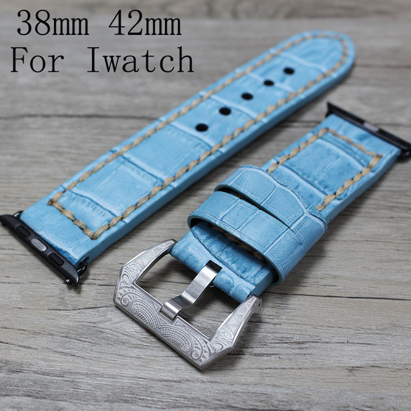 38mm 42mm Blue Apple Watchband,Special Design Leather Apple Watch Strap,For Iwatch Apple watch With Adapter And Special Buckle 38mm 42mm apple watchband special design handmade leather watch strap 4 color available for iwatch apple watch free shiping