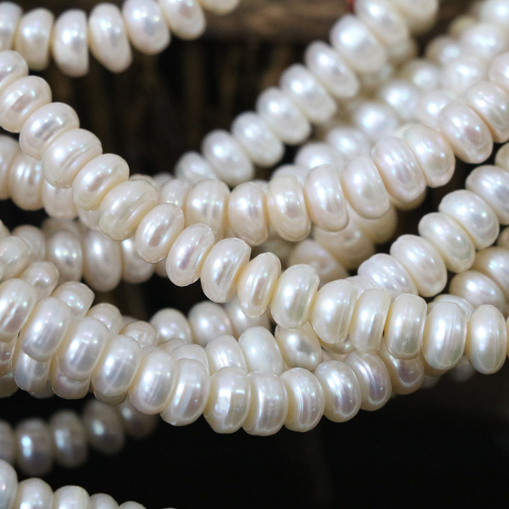 Natural charms cultured freshwater white pearl beads 6*8mm abacus women making loose jewelry wholesale retail 15inch B1329