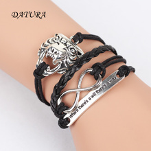 VintageLeopard Head 8 Word Arrow Leaf Charm Infinity Punk Statement Bracelet New Fashion Jewelry.(size :17cm)