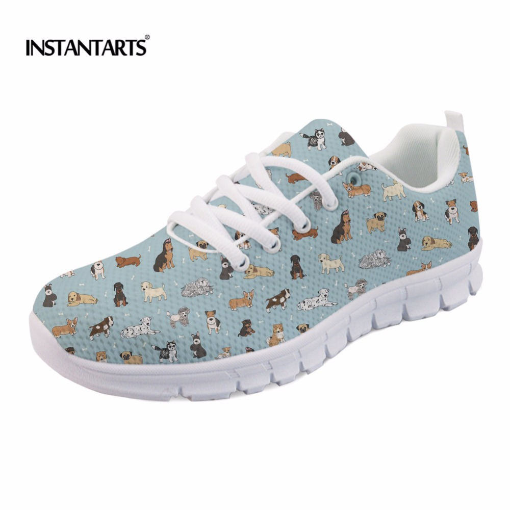 INSTANTARTS Cute Puppy Doodles Pattern Women Flats Shoes Fashion Breathable Spring/Autumn Light Sneakers Casual Mesh Flat Shoes instantarts casual women s flats shoes emoji face puzzle pattern ladies lace up sneakers female lightweight mess fashion flats