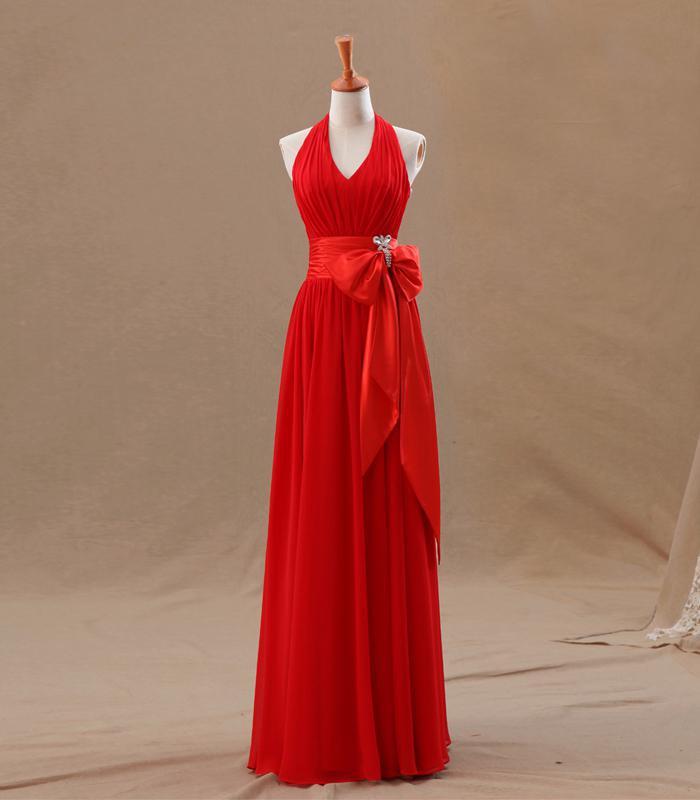 2016 Crveni šampanjac djeveruše haljine uk uske nabora elegantan - Vjenčanje večernje haljine - Foto 4