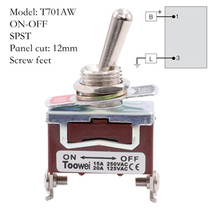 Image 2 - TOOWEI SPST DPDT DPST SPDT Toggle Switch ON ON ON OFF ON ON OFF AC Power Rocker Switch AC 250V 15A 125V 20A