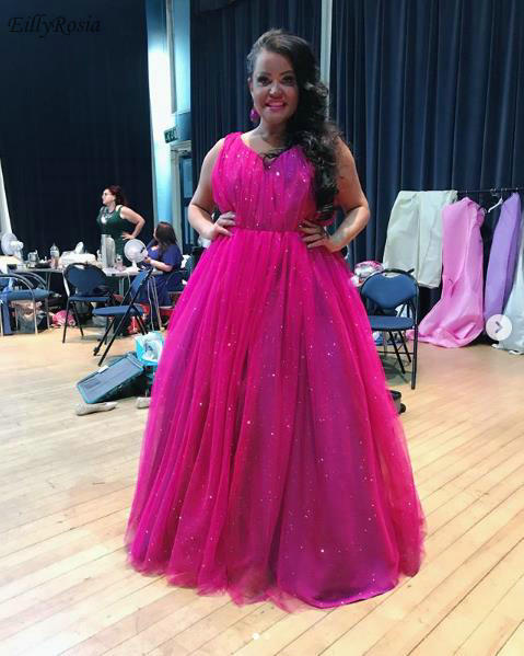 US $121.21 38% OFF Fuchsia Plus Size Prom Dresses Long 2019 New Arrival  Sparkly Sequins Tulle A Line Beautiful Party Gowns Dinner Dress gala  jurken-in ...