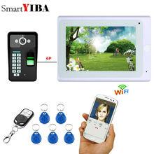 """Yobang 보안 7 """"지문 RFID 암호 IR CUT HD 카메라와 유선/무선 Wifi 비디오 초인종 인터폰 시스템"""